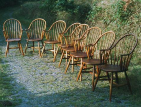 A set of eight Continuous Arm Windsor Chairs