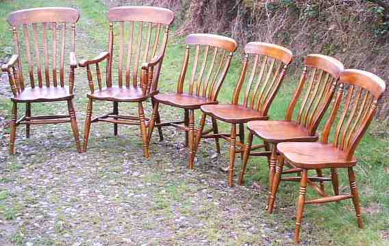 A set of Lath Back Windsor Chairs